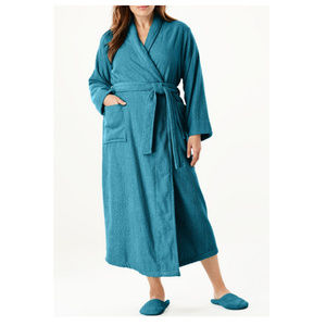 Woman Within Terry Cotton Spa Robe & Slippers Set